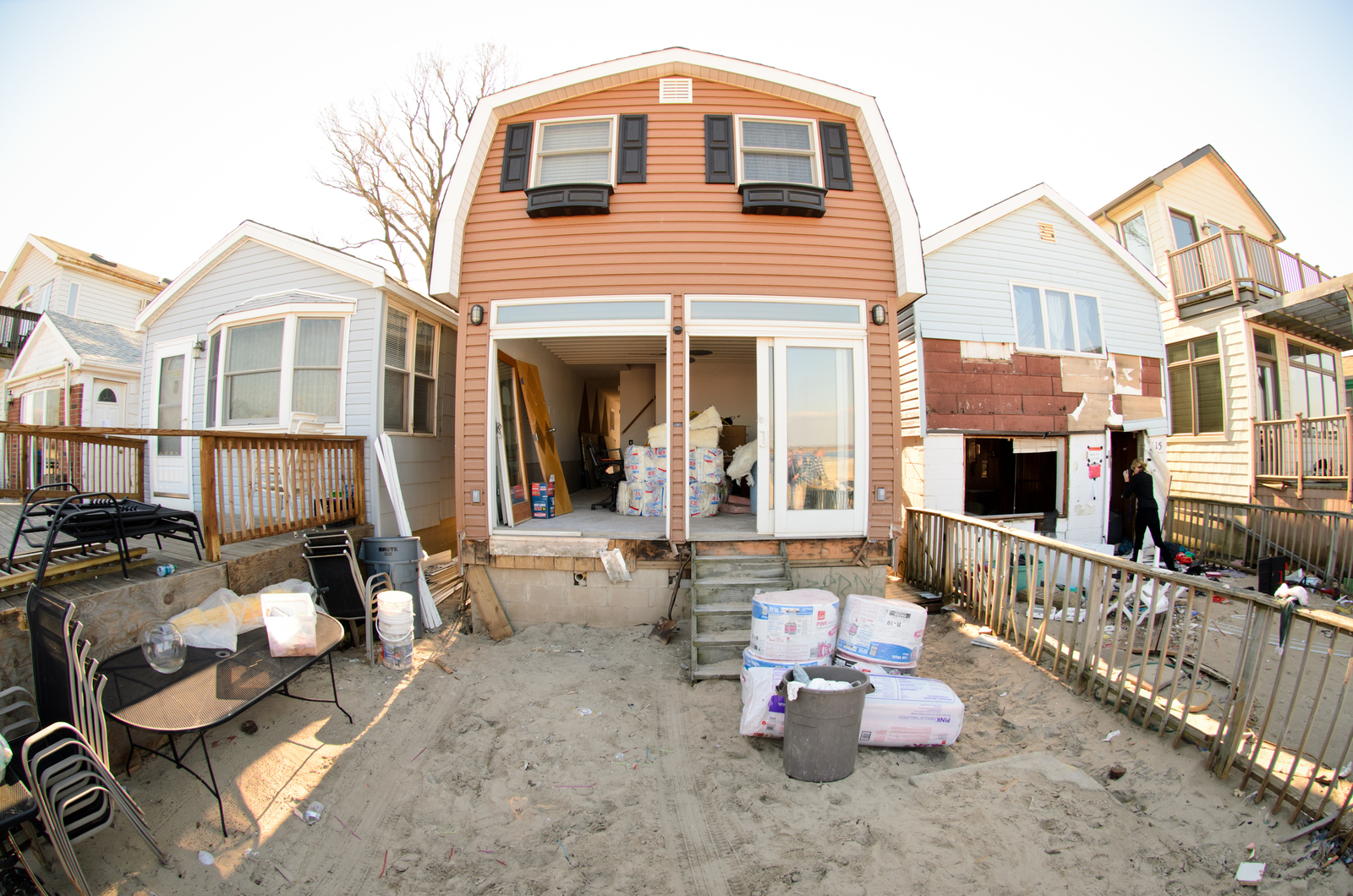 Far Rockaway, N.Y., Dec. 13, 2012 -- FEMA visits with Chief Richard Colleran of Roxbury Volunteer Emergency Services, who's fire house is providing support and food services to local residents of the Far Rockaways and Breezy Point. Andre R. Aragon/FEMA