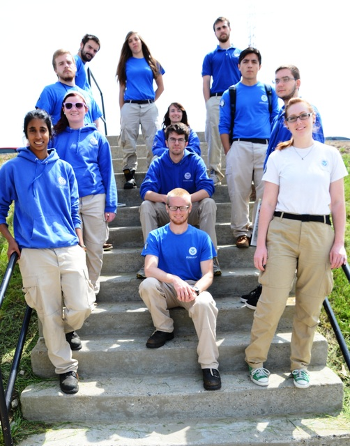 Framingham, Mass., May 23, 2013 -- FEMA Corps members from the Portsmouth, N.H., Joint Field Office pause on the steps leading to the Massachusetts Emergency Management Agency's below-ground bunker before a briefing.  Members are, first row left from bottom, Vathani Logendran, Alyssa Sorenson, Zach Zwahl,  and Nick Karampatsos; second row right from bottom, Nate Hallgren, Tim Nash, Sara White and Sammi Labaschin; third row from bottom, Carolanne Fernandez, Jacob Garlick, Rafael Lemus, and David Engelman. The team completes its 10-month FEMA Corps commitment in June. Don Jacks/FEMA