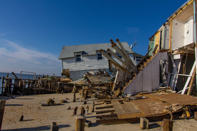 Gandy Beach, N.J., Nov. 23, 2012 -- A storm surge caused by Hurricane Sandy in Delaware Bay torn through sea walls and damaged beach front homes. FEMA is working to provide assistance to people affected by Hurricane Sandy. Steve Zumwalt FEMA