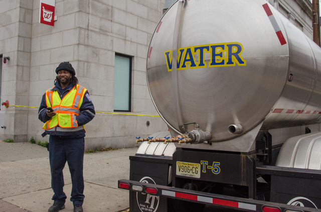 Hoboken, N.J., Nov. 1, 2012 -- Hudson County has water trucks available for residents who may not have other access to potable water.  FEMA is working with many partners and organizations to assist residents affected by Hurricane Sandy. Photo by Liz Roll/FEMA