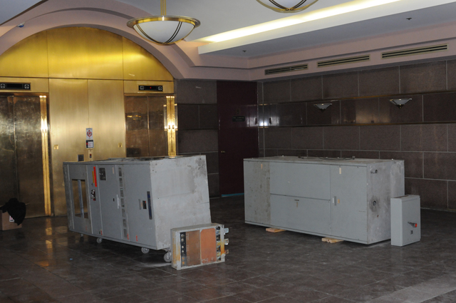 Hoboken, N.J., Nov. 23, 2012 -- Electrical Components are removed and lay in the lobby of this waterfront commercial building. Extensive damage to the first floor resulted from three feet of flooding from Hurricane Sandy. George Armstrong/FEMA