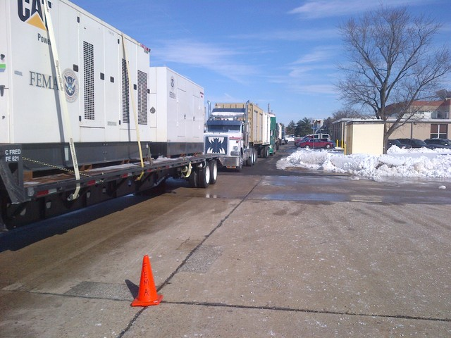 Horsham Township, Pa., February 6, 2014 -- FEMA generators arrive in Pennsylvania to support the response to EM-3367-PA