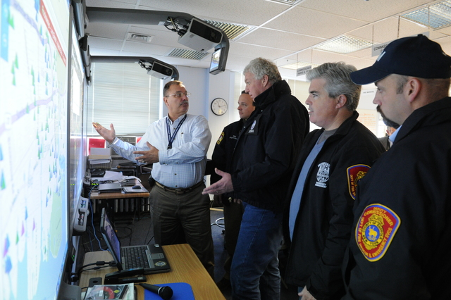 Islip, N.Y., Nov. 6, 2012 -- FEMA Deputy Administrator Rich Serino, center, meets local officials to discuss the ongoing recovery from Hurricane Sandy. Cleanup continues to be a major concern in the area. FEMA is working with many partners including federal, state, local and tribal governments, voluntary, faith-based and community-based organizations, and the private sector to assist residents impacted by Hurricane Sandy. Jocelyn Augusitno/FEMA