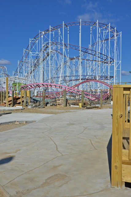 Keansburg, N.J., Feb. 21, 2013 -- In the Keansburg Amusement Park, the pathway to the roller coaster has been completed and work continues elsewhere in hopes of meeting the anticipated opening date of March 24.  The park was damaged during the siege of Hurricane Sandy in late October.  Photo by Sharon Karr/FEMA
