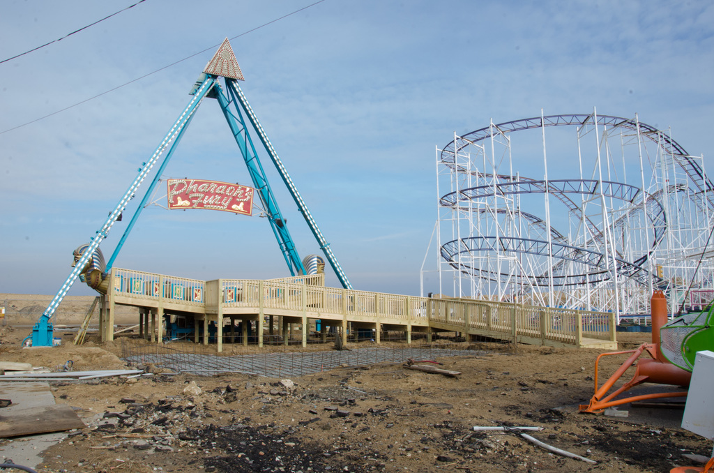 Keansburg, N.J., Jan. 29, 2013 -- A newly constructed walkway is ready for the season opener of Keansburg Amusement Park on March 24th. The historic park suffered major damage from Hurricane Sandy.  Photo by Liz Roll/FEMA