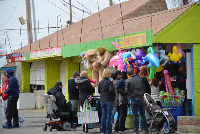 Keansburg, N.J., March 24, 2013 -- Visitors to the newly reopened Keansburg Amusement Park tried their luck at one of the arcades.  After being devastated by Hurricane Sandy last October, the owners vowed to be reopened for the 2013 season.  Photo by Sharon Karr/FEMA