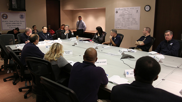 Lincroft, N.J., Jan. 7, 2013 -- Congressman Frank Pallone (D) attends a briefing at the Joint Field Office regarding the recovery efforts associated with hurricane Sandy. The Congressional Affairs Division is the Federal Emergency Management Agency's primary liaison with the United States Congress. Our mission is to proactively engage and communicate with Members of Congress and their staffs to build strong working relationships that will advance the agency's legislative and emergency management priorities. Adam DuBrowa/ FEMA