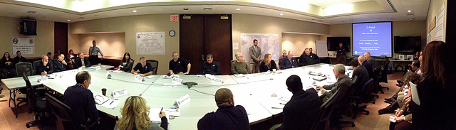 Lincroft, N.J., Jan. 8, 2013 -- Congressman Frank Pallone (D) attends a briefing at the Joint Field Office regarding the recovery efforts associated with hurricane Sandy. The Congressional Affairs Division is the Federal Emergency Management Agency's primary liaison with the United States Congress. Our mission is to proactively engage and communicate with Members of Congress and their staffs to build strong working relationships that will advance the agency's legislative and emergency management priorities. Adam DuBrowa/ FEMA