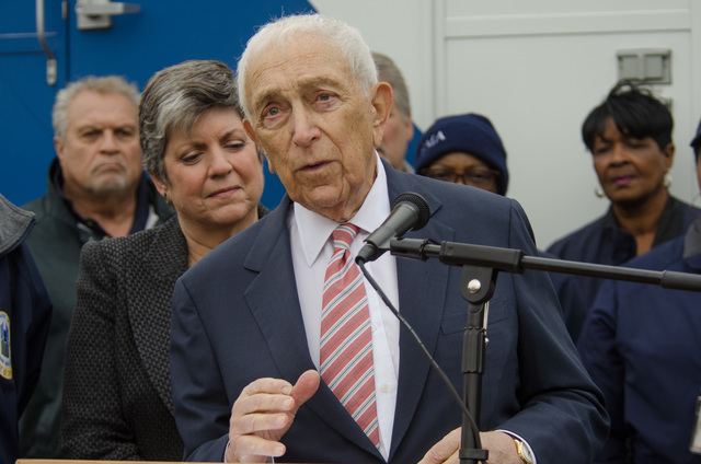 Lincroft, N.J., Nov. 16, 2012 -- Senator Frank Lautenberg speaks at a press conference concerning Hurricane Sandy recovery efforts. Department of Homeland Security Secretary Napolitano also in attendance. Photo by Liz Roll/FEMA