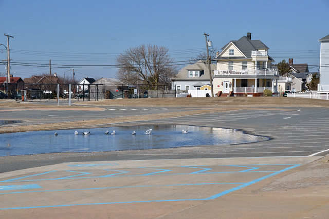 Long Branch, N.J., March 5, 2013 -- The hockey park at Seven Presidents Park in Long Branch was wiped clean of the surrounding wall during the surge produced by Hurricane Sandy late last October. According to the park manager, the area may be utilized as a temporary parking lot until repairs can be made.  Photo by Sharon Karr/FEMA