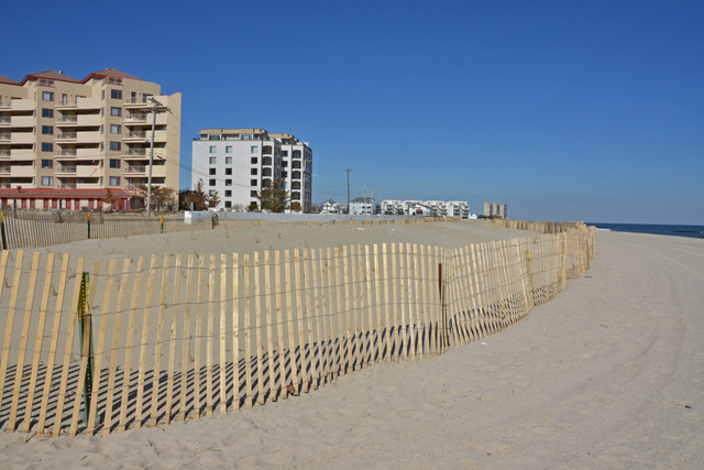Long Branch, N.J., March 5, 2013 -- The park manager at Seven Presidents Park in Long Branch stated that this quarter mile section of a dune reconstruction project took nearly three and one half months to complete.  All the dunes were wiped from the beach when Hurricane Sandy devastated the area last October.  Photo by Sharon Karr/FEMA