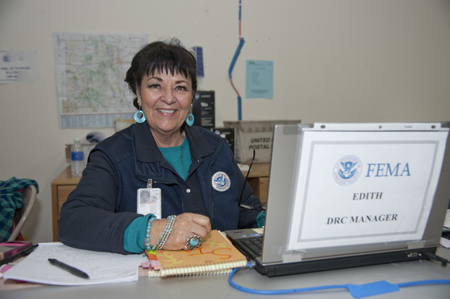 Longmont, CO, October 7, 2013--Edith Lovell is a FEMA Disaster Recovery Center (DRC) manager in Longmont, CO.  She is responsible for overseeing the daily activities at the DRC and works with local, state, volunteer and other federal agencies to provide assistance to residents affected by the recent floods in Colorado. Patsy Lynch/FEMA