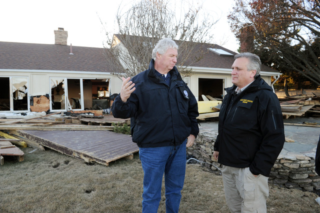 Massapequa, N.Y., Nov. 6, 2012 -- FEMA Deputy Administrator Rich Serino, left, and County Executive Edmund Mangano visit areas impacted by Hurricane Sandy.  Power restoration and cleanup remain a high priority in areas impacted by the hurricane.  Jocelyn Augustino/FEMA