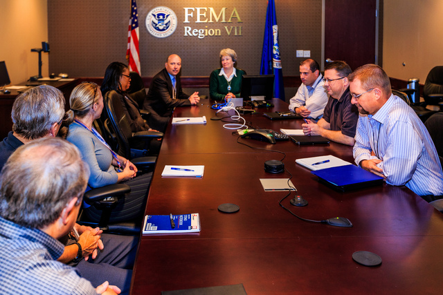 Michael Coen, Jr, FEMA Chief of Staff meets with leadership in Region VII in Kansas City. Michael Coen, Jr was appointed as FEMA Chief of Staff in mid-2013 and has been visiting the different Regions to and listen to their perspectives. Photo by Steve Zumwalt FEMA