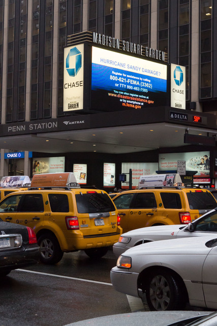 New York City, N.Y., Dec. 7, 2012 --Federal Emergency Management Agency messages are currently being displayed on Madison Square Garden's Event display for thousands of residents to see as they pass the landmark venue during the busy holiday season following Hurricane Sandy. Chris Ragazzo/FEMA