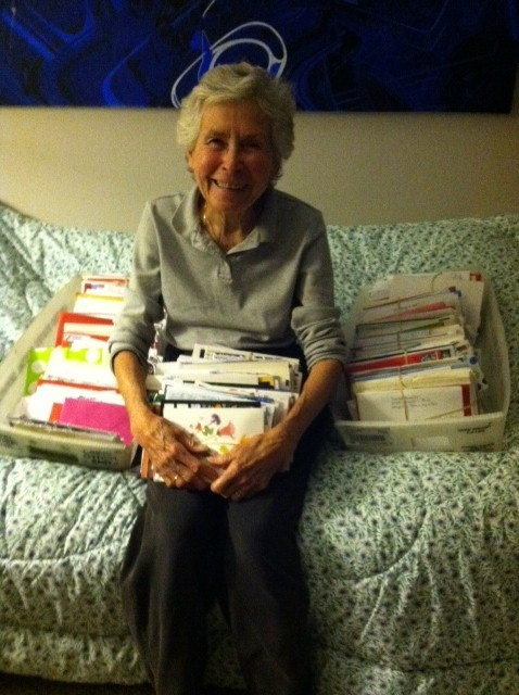 New York, N.Y., Dec. 14, 2012 -- Hurricane Sandy Survivor Patsy Roberts, in her daughter's guest room with the hundreds of letters she received from supportive friends, neighbors and strangers after she was displaced from her home in Belle Harbor in Rockaway, Queens