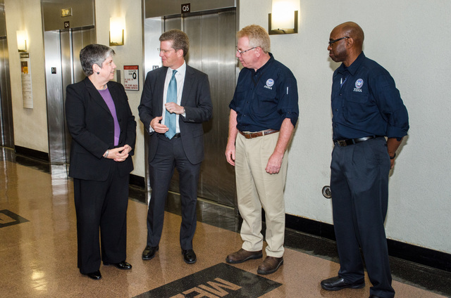 New York, N.Y., June 14, 2013 --Department of Homeland Security Secretary, Janet Napolitano, Secretary of Housing and Urban Development (HUD) Shaun Donovan, FEMA Federal Coordinating Officer (FCO) Michael Byrne and Deputy FCO Willie Nunn met with Health and Hospitals Corporation (HHC) executives  at Bellevue Hospital to discuss repair work taking place in a number of New York City Hospitals damaged during Hurricane Sandy. K.C.Wilsey/FEMA