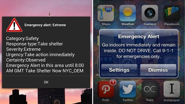 New York, N.Y., Nov. 16, 2012 -- Emergency alert notification on mobile device. Alert reads, Emergency alert: Extreme ΓÇô Category: Safety ΓÇô Response Type: Take Shelter ΓÇô Severity: Extreme ΓÇô Urgency: Take action immediately ΓÇô Certainty: Observed ΓÇô Emergency Alert in this area until 8:00AM GMT Take Shelter Now NYC_OEM. Emergency Alert Go indoors immediately and remain inside. DO NOT DRIVE. Call 9-1-1 for emergencies only