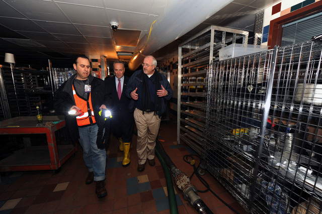 New York, N.Y., Nov. 9, 2012 --FEMA Administrator Craig Fugate, right, Senator Charles Schumer, center, get a tour of damaged areas at  NYU Langone Medical Center by Richard Cohen, Administration Facilities Management.  They came to view damage caused by Hurricane Sandy and were joined by the center's administrator's and senior officials.  They are in the sub-basement  and basement of the center which was heavily damaged by flood waters from the storm.Jocelyn Augustino/FEMA