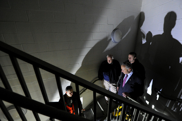 New York, N.Y., Nov. 9, 2012 --FEMA Administrator Craig Fugate, top of stairs, left and Senator Charles Schumer,center, get a tour of damage at NYU Langone Medical Center.  They came to view damage caused by Hurricane Sandy and were joined by the center's administrator's and senior officials from FEMA and the hospital.Jocelyn Augustino/FEMA