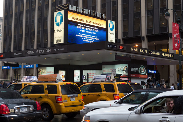 N.Y., Dec. 7, 2012 --Federal Emergency Management Agency messages are currently being displayed on Madison Square Garden's Event display for thousands of residents to see as they pass the landmark venue during the busy holiday season following Hurricane Sandy. Chris Ragazzo/FEMA