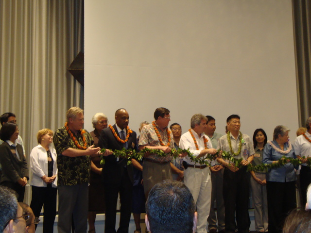 Oahu, Hawaii, Feb. 9, 2010 -- FEMA Personnel participate in the Lei Cutting ceremony upon the establishment of the National Disaster Preparedness Training Center on Oahu