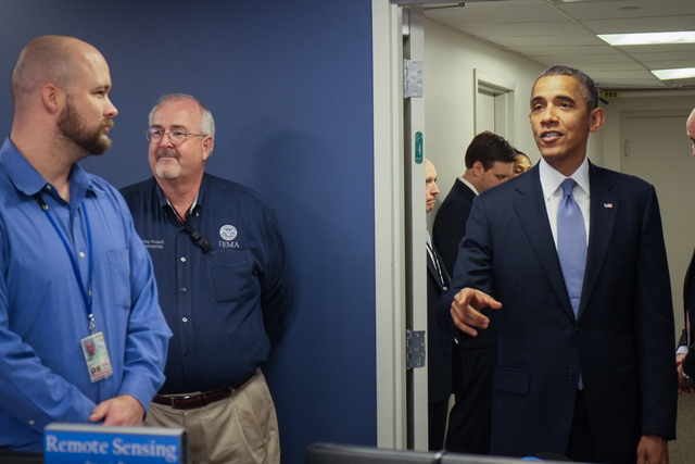 On October 7, 2013, President Barack Obama visited the FEMA National Response Coordination Center (NRCC) at FEMA Headquarters in Washington, DC to thank FEMA employees for their ongoing dedication and service during the lapse in government appropriations