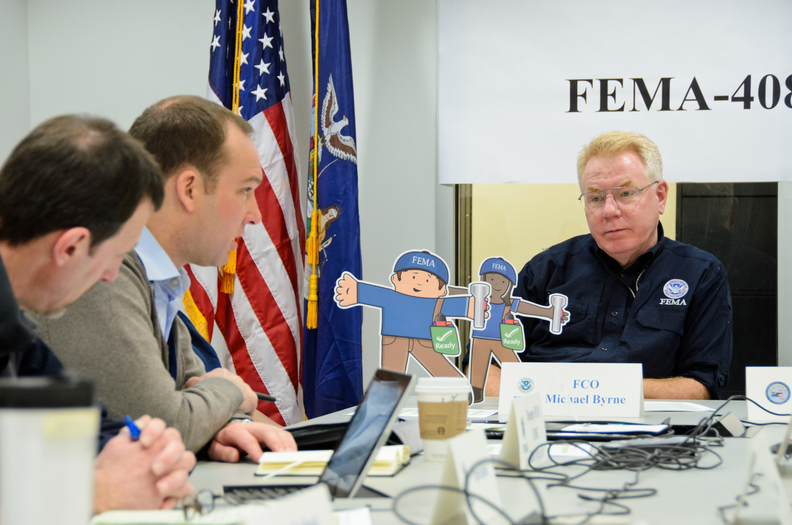 Queens, N.Y., Jan. 4, 2013 -- Flat Stella and Flat Stanley visit the FEMA Joint Field Office (JFO) in Queens, NY to attend meetings with FEMA Federal Coordinating Officer Michael Byrne, FEMA partners and associates. Andre R. Aragon/FEMA