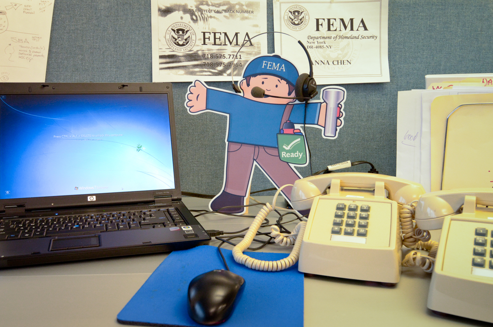Queens, N.Y., Jan. 4, 2013 -- Flat Stella and Flat Stanley visit the FEMA Joint Field Office (JFO) in Queens, N.Y. At the JFO, FEMA works with its partners to ensure that disaster survivors are receiving assistance that will help them begin to recover. Andre R. Aragon/FEMA