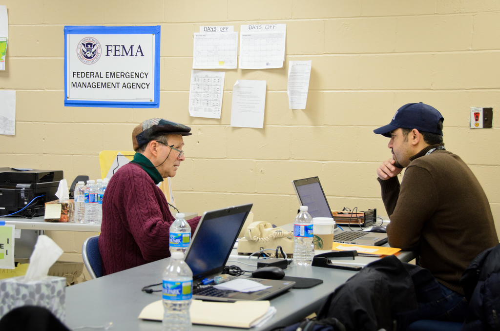 Roxbury, N.Y., Jan. 16, 2013 -- FEMA Disaster Recovery Center at Fort Tilden Park in Roxbury, NY is still open to assist Hurricane Sandy survivors. Several FEMA partners are stationed here to provide one-stop assistance to residents affected by the storm, including the Small Business Administration (SBA), Housing & Urban Development (HUD), NY State Department of Motor Vehicles and the US Post Office.  Andre R. Aragon/FEMA