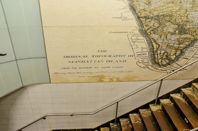 South Ferry, N.Y., Dec. 11, 2012 -- The dark line on map of Manhattan between Canal Street and Chambers street, shows the high water mark at the South Ferry Terminal stairway to the 1 and R subways. Andre R. Aragon/FEMA