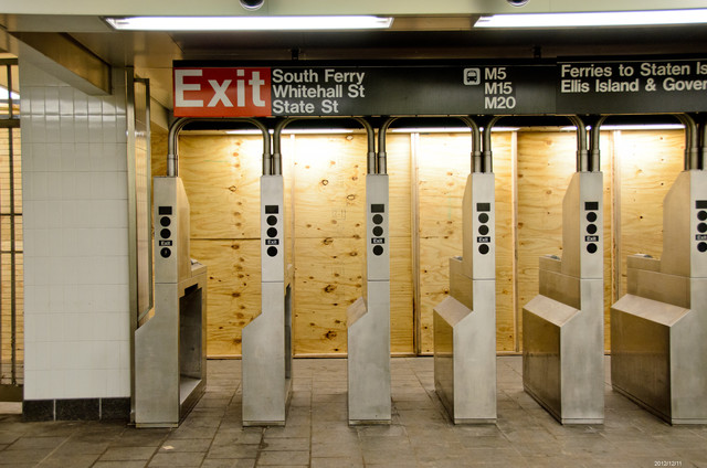South Ferry, N.Y., Dec. 11, 2012 -- Turnstiles at South Ferry Terminal to the 1 and R subways. Repair and restoration in progress. Andre R. Aragon/FEMA