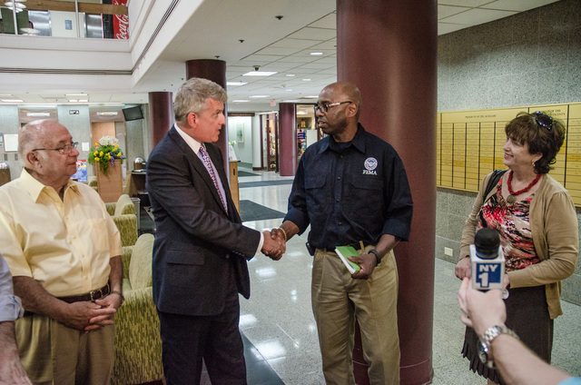 Staten Island, N.Y., June 21, 2013 -- Staten Island Borough President James Molinaro, Richmond University Medical Center (RUMC) President Michael Breslin, FEMA NY Federal Coordinating Officer (FCO) Willie Nunn and Board Chairperson Kate Rooney, on a tour of RUMC facilities, discussed ways to improve the infrastructure in the wake of Hurricane Sandy. K.C.Wilsey/FEMA