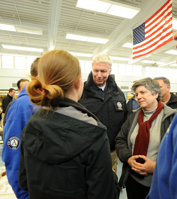 Staten Island, N.Y., Nov. 2, 2012 -- Department of Homeland Security Secretary Janet Napolitano, right, and  FEMA Deputy Administrator Rich Serino, center, speak to FEMA Corps members at a shelter set up at Susan Wagner high school. The shelter is set up to assist residents impacted by Hurricane Sandy.  Jocelyn Augustino/FEMA