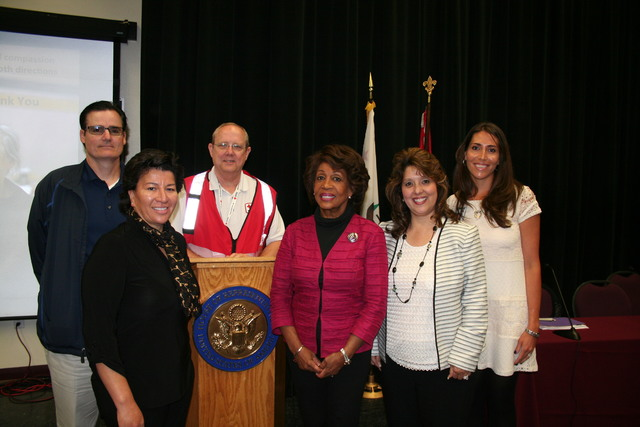 Torrance, Calif., April 2, 2014 -- Congresswoman Maxine Waters of California's 43rd District hosts an Emergency Preparedness panel in Torrance, Calif. Representatives from FEMA, California Office of Emergency Services, LA County, City of Torrance, and American Red Cross were present.  From left to right: Michael Rock, City Manager, Lomita, CA; Veronica Verde, External Affairs Officer, FEMA; Tom Bryan, Community Disaster Education Chairman, American Red Cross; Congresswoman Maxine Waters; Mona Bontty, Regional Administrator, California Governor's Office of Emergency Services; Soraya Sutherlin, Emergency Services Coordinator, Torrance Police Department