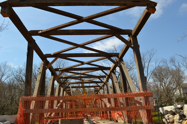 Upper Leacock and Manheim Townships, Pa., April 7, 2013 -- Reconstruction of Pinetown Covered Bridge over the Conestoga River in Lancaster County continues. FEMA funds will cover 75 percent of the $1.1 million it will cost to rebuild the 146-year-old  bridge, which was nearly completely destroyed by Tropical Storm Lee and Hurricane Sandy in 2011
