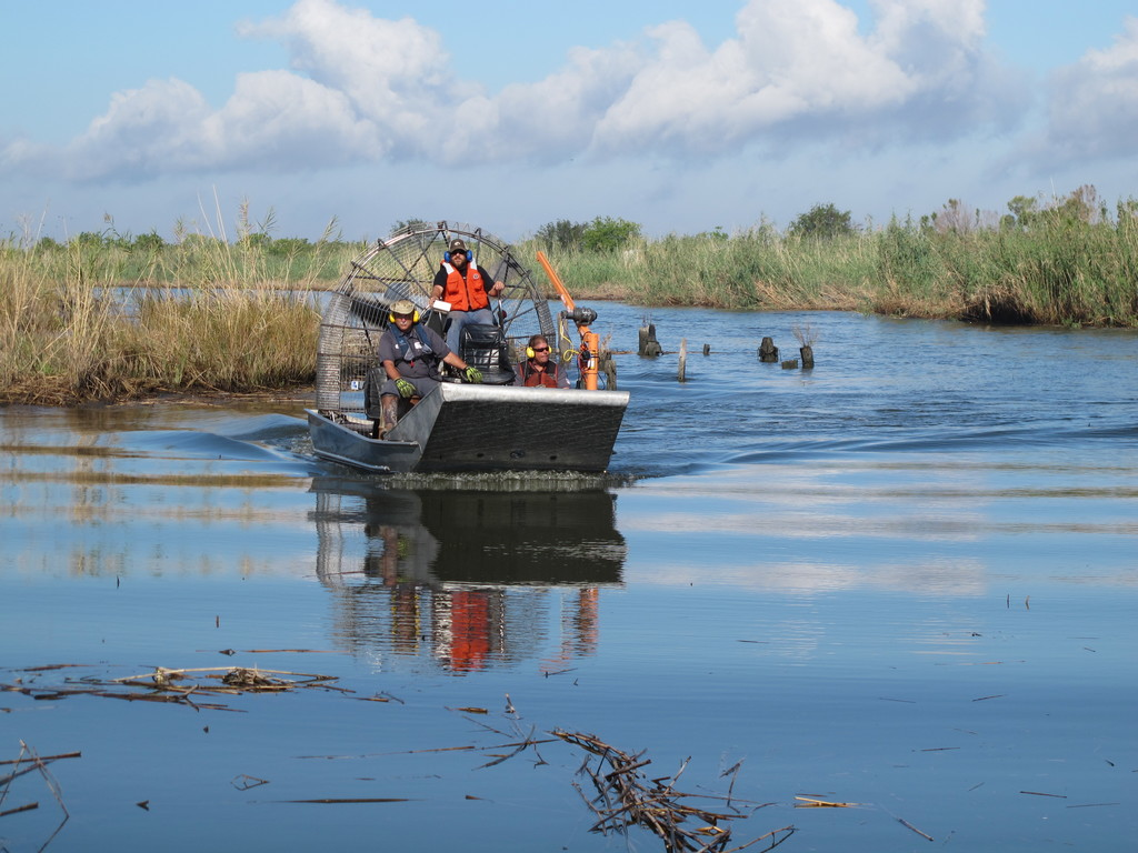 Venice, La., Nov. 1, 2012 -- Air boats are used for the collection of Orphan Containers in Plaquemines Parish after Hurricane Isaac, this makes it easier to transport since many of these containers ended in the water and the marsh land. Photo taken by Daniel Llargues/FEMA