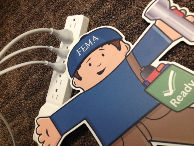 Washington, D.C., Dec. 7, 2012 -- FEMA Flat Stanley learns about safely using power strips during the holiday season by not overloading them