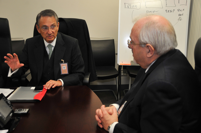 Washington, D.C., Feb. 14, 2013 -- FEMA Administrator Craig Fugate (R) and Luis Felipe Puente, General Coordinator of Civil Protection for Mexico, discuss ways to improve international cooperation in disaster preparedness, response and recovery.  FEMA/Aaron Skolnik