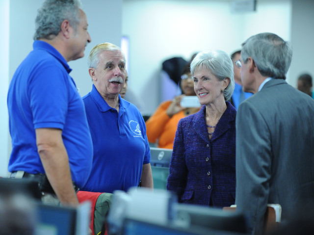 Washington, D.C., Oct. 31, 2012 -- Cabinet members get a tour of the National Response Coordination Center after a cabinet meeting that was held by President Barack Obama, to discuss updates on responses to Hurricane Sandy at FEMA headquarters.  Jocelyn Augustino/FEMA