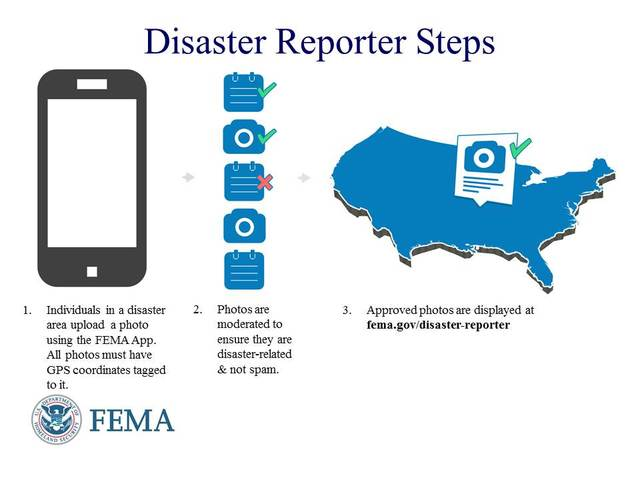 Washington, D.C., Sep. 10, 2013 -- A graphic describing the Disaster Reporter feature in the FEMA app.  Learn more at www.fema.gov/disaster-reporter