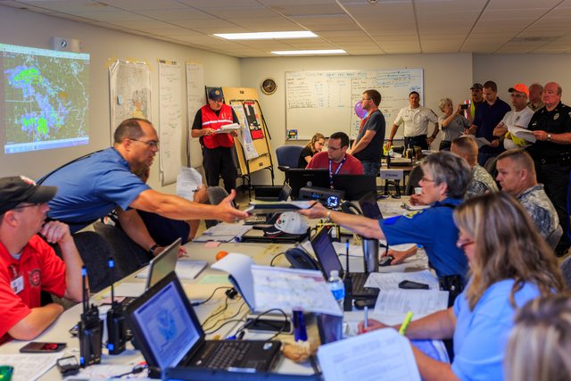 Waynesville, Mo., Aug. 9, 2013 -- Pulaski County, Missouri Emergency Operations Center (EOC) has been activated due to the flooding in Waynesville. EOC is a central command and control facility responsible for carrying out and managing the disaster functions in an emergency situation. Steve Zumwalt/FEMA