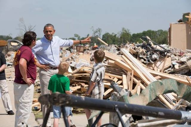 """""""We'll be here for the long haul"""" - Yesterday, President Obama visited with communities in Arkansas impacted by last week's tornadoes. He talked with some of the families who lost loved ones as a result of the tornadoes, as well as some of the first responders, recovery workers, and members of the National Guard that are helping the community recover. """