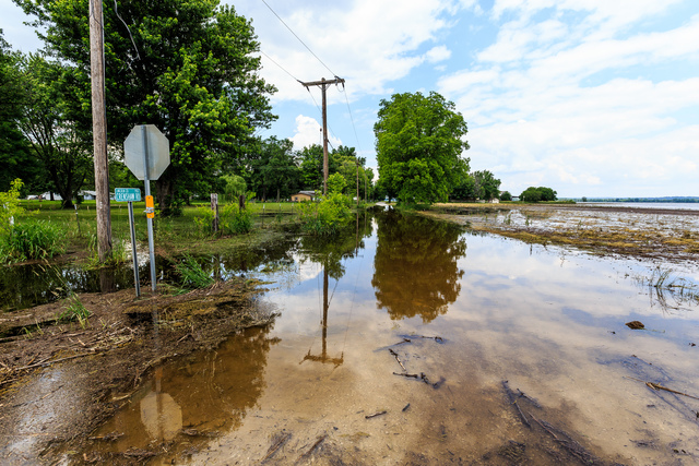 Winfield, Mo., June 7, 2013 -- Rising water for the Mississippi River threatens this small community along State Route 79. FEMA and the State have done joint Preliminary  Assessments (PDA) in the areas affected to determine the magnitude and impact of an event's damage.  Steve Zumwalt/FEMA