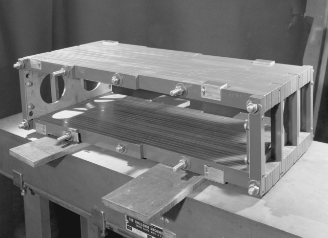 1/4 scale bevatron operating model. Magnet core internal pole tip test-pole tip assembly. Associated individuals: Duane Sewell and William Brobeck.November 9, 1949. Bevatron Model-335. Model briefly referred to as the Cyclodrome