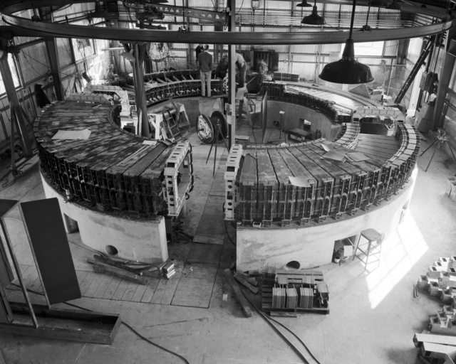 1/4 scale model bevatron. General view of magnet. Photo taken December 20, 1948. Requested by William Brobeck. Bevatron Model-107. Briefly referred to as the Cyclodrome