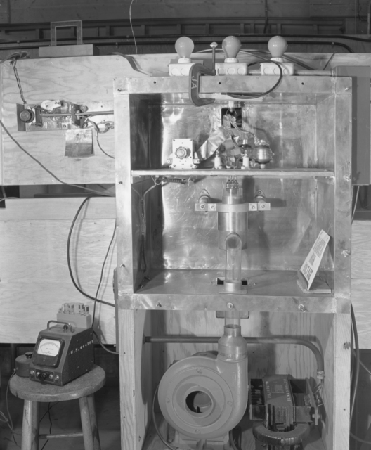 18-inch cyclotron testing equipment for the 1/4 scale bevatron operating model. Associated individual: William Brobeck. December 15, 1948. Bevatron Model-93. Model briefly referred to as the Cyclodrome