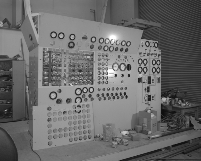 25-inch bubble chamber control panel. Photograph taken October 26, 1962. Bubble Chamber-1201 -  Photographer: George Kagawa