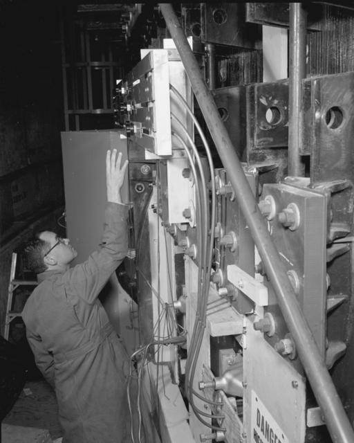 28-degree slide control door panel. Photograph taken February 26, 1960. Bevatron-2006