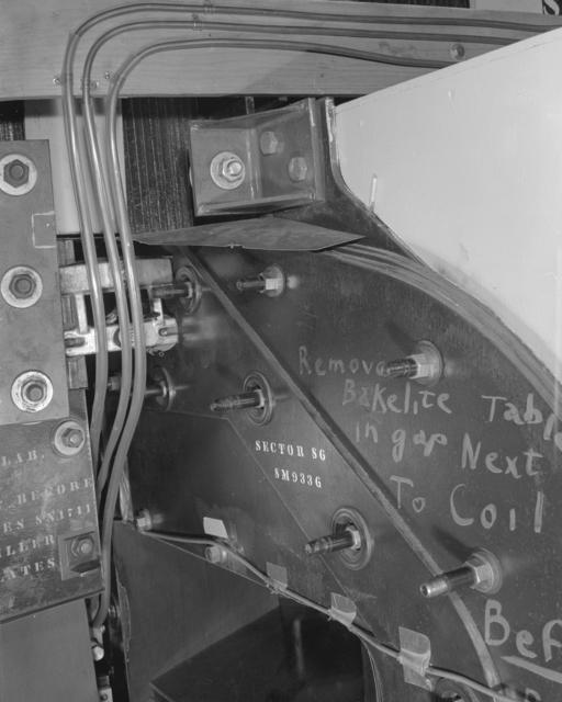 28-degree slide control door panel. Photograph taken February 26, 1960. Bevatron-2007
